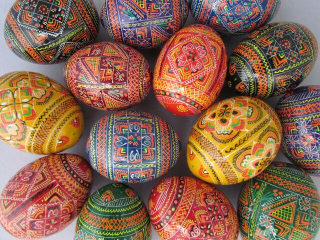Assorted Wooden Painted Ukrainian Easter Eggs Pysanka