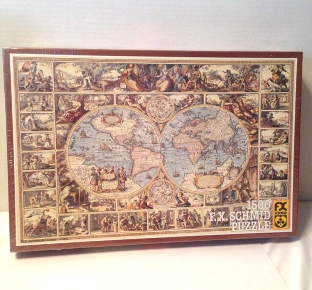 Vintage 1983 fx schmid jigsaw puzzle antique world map 1500 pcs west vintage fx schmid jigsaw puzzle 1983 antique world map 1500 pcs west germany new gumiabroncs Images