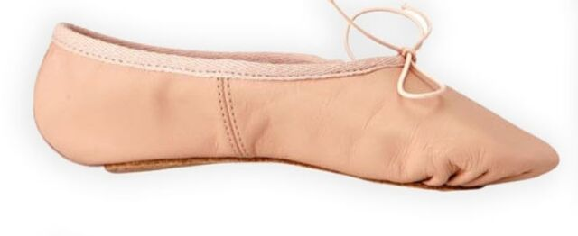 Leather Ballet Shoes Full Sole with  Attached Crossed Elastics