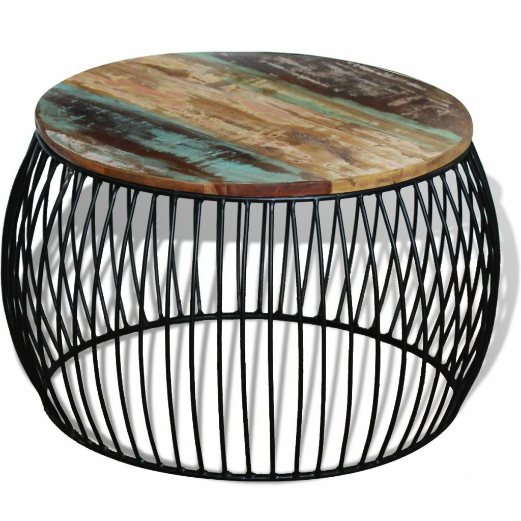 Vidaxl solid reclaimed wood round coffee side couch table picture 1 of 1 geotapseo Images