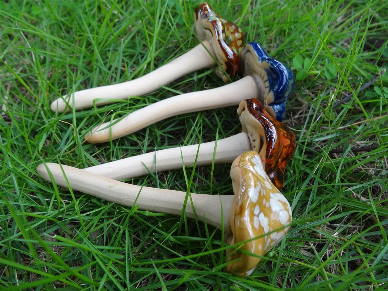 Set of 4 Cute Ceramic Pottery Mushroom Yard Garden Decor Ornament ...