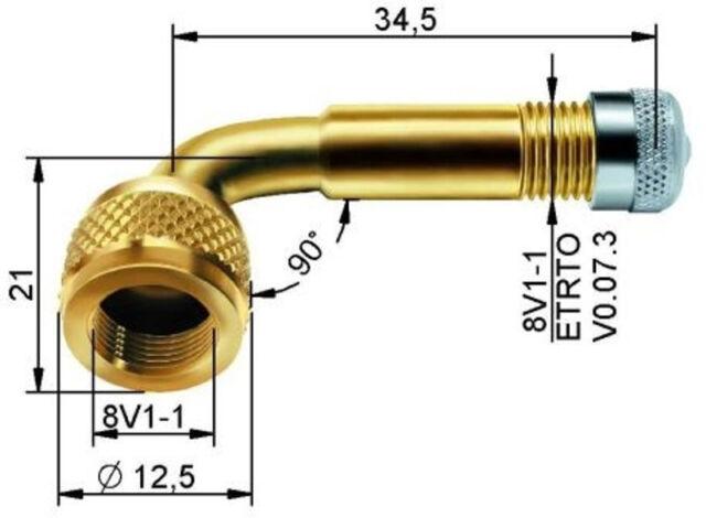 Ventilverlängerung Lkw Motorrad 90° Metall Ventil 1 x Alligator 330903 Messing