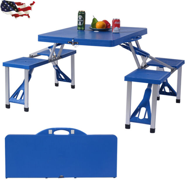 foldable portable aluminum plastic picnic table outdoor camping w