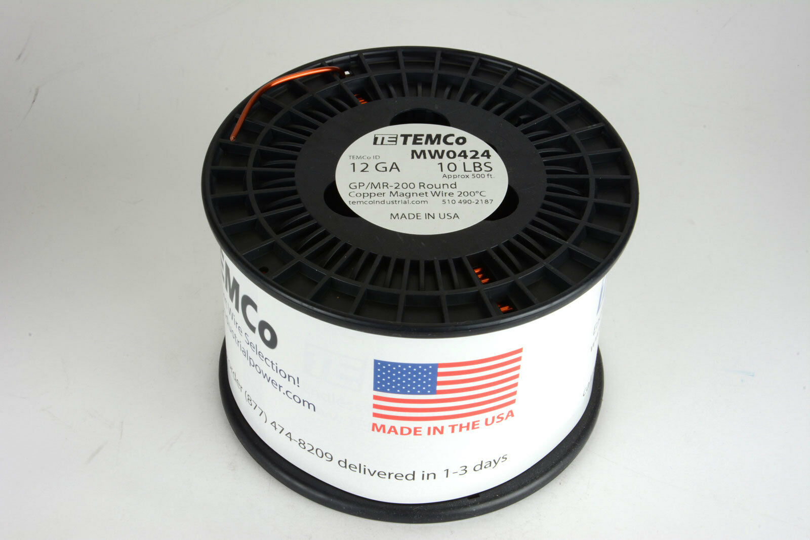 Temco Magnet Wire 12 AWG Gauge Enameled Copper 10lb 500ft 200c Coil ...