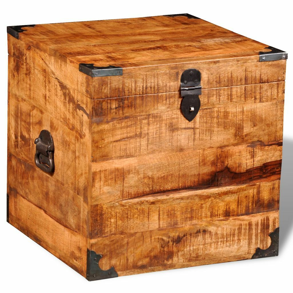 Picture 1 of 11 ...  sc 1 st  eBay & vidaXL Rough Mango Wood Blanket Toy Storage Chests Boxes Trunks Home ...