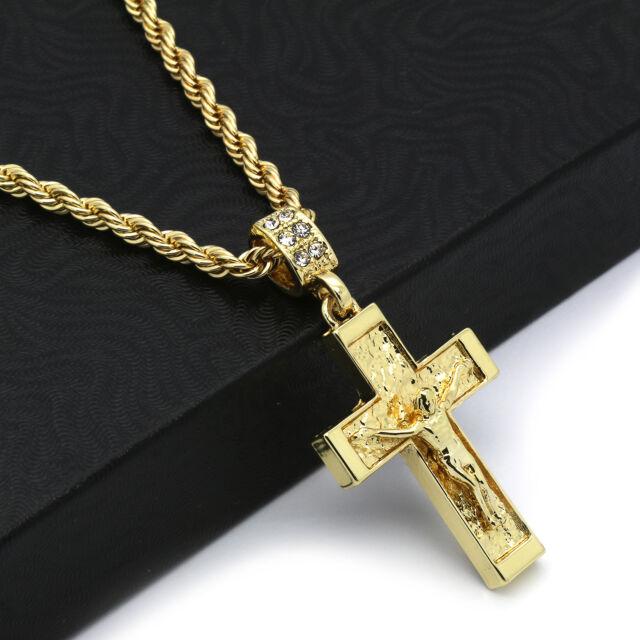 Hip hop 14k gold plated crucifix jesus cross pendant 24 4mm tch hip hop 14k gold plated crucifix jesus cross pendant 24 4mm tch rope chain 2 audiocablefo