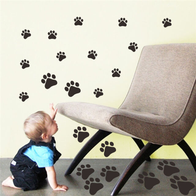 22walking paw prints wall decal home art decor dog cat food dish