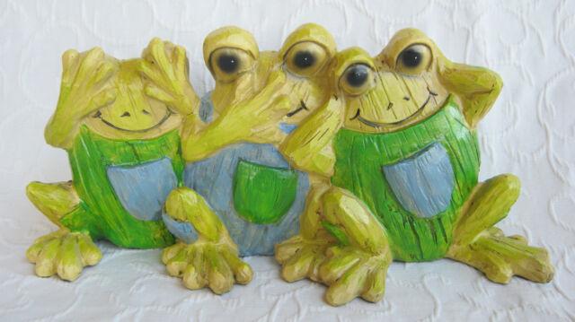 3er Set Frösche nichts hören sehen sagen Frosch Trio Deko Holz Optik 30 cm