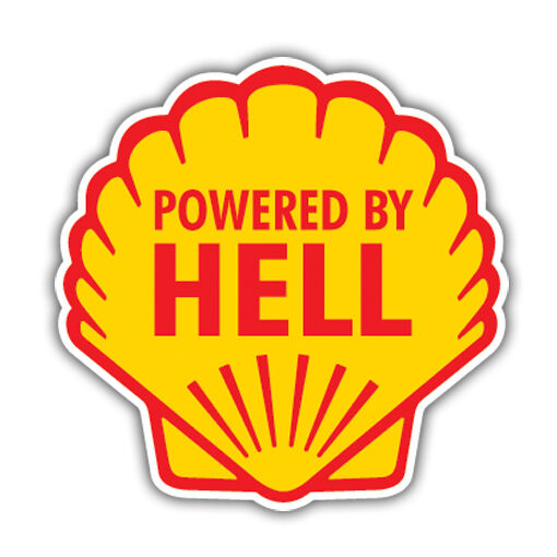 Powered by hell bumper sticker hotrod vw ratlook hood ebay