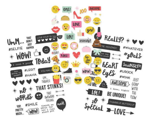 Simple stories emoji love collection clear stickers 8023 2017