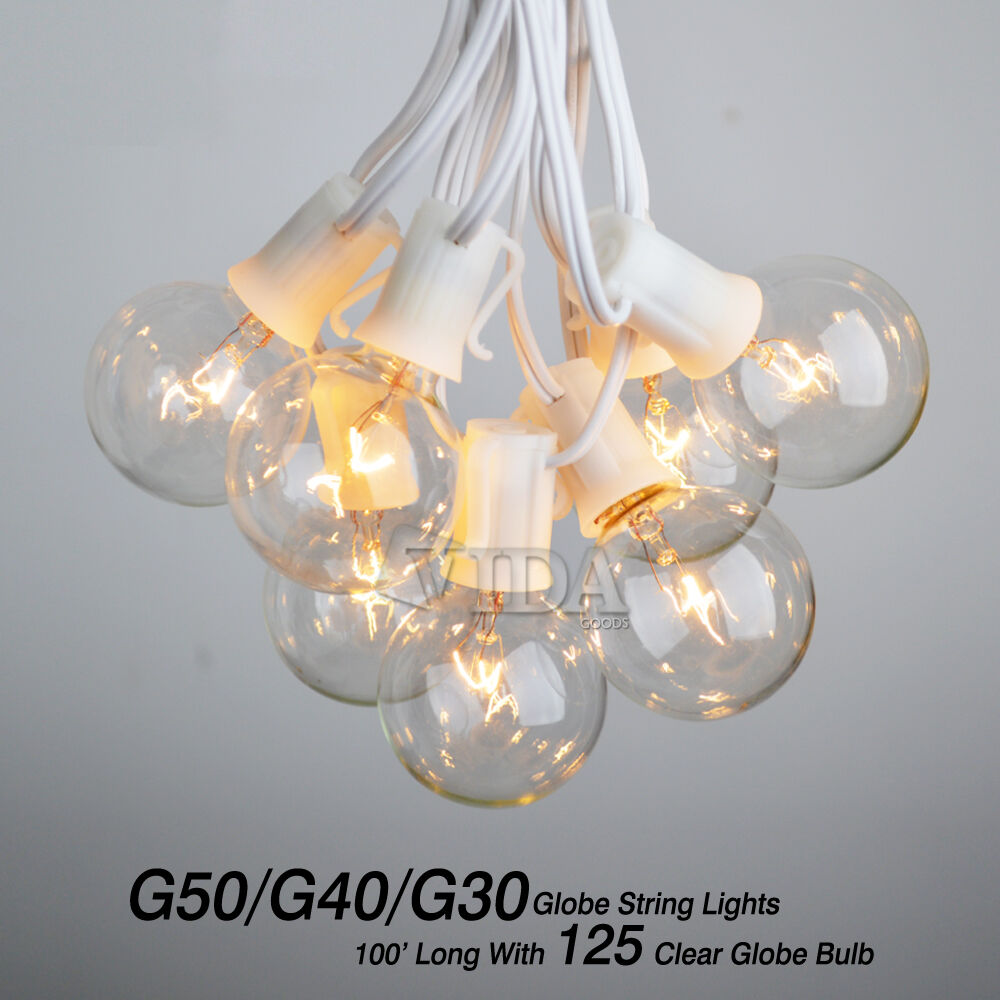 100 foot g30 outdoor lighting patio party globe string lights clear picture 4 of 6 workwithnaturefo