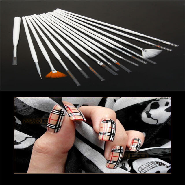 15pcs Fingernail Design Acrylic Nail Art Colored Drawing Pen Tips ...