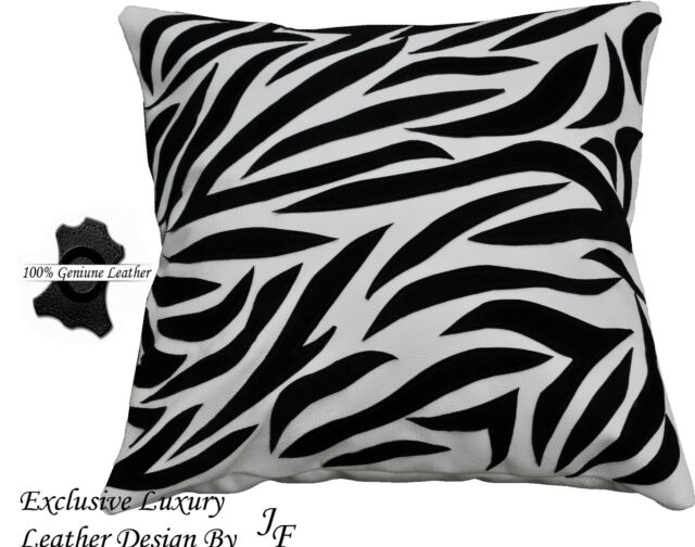 White black luxury genuine leather cushion animal zebra print design sewed on
