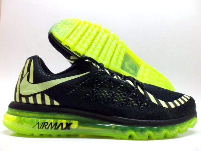 Men's Nike Air Max 2015 NR Running Shoes 746687 014 Black/Lime Size 10.5