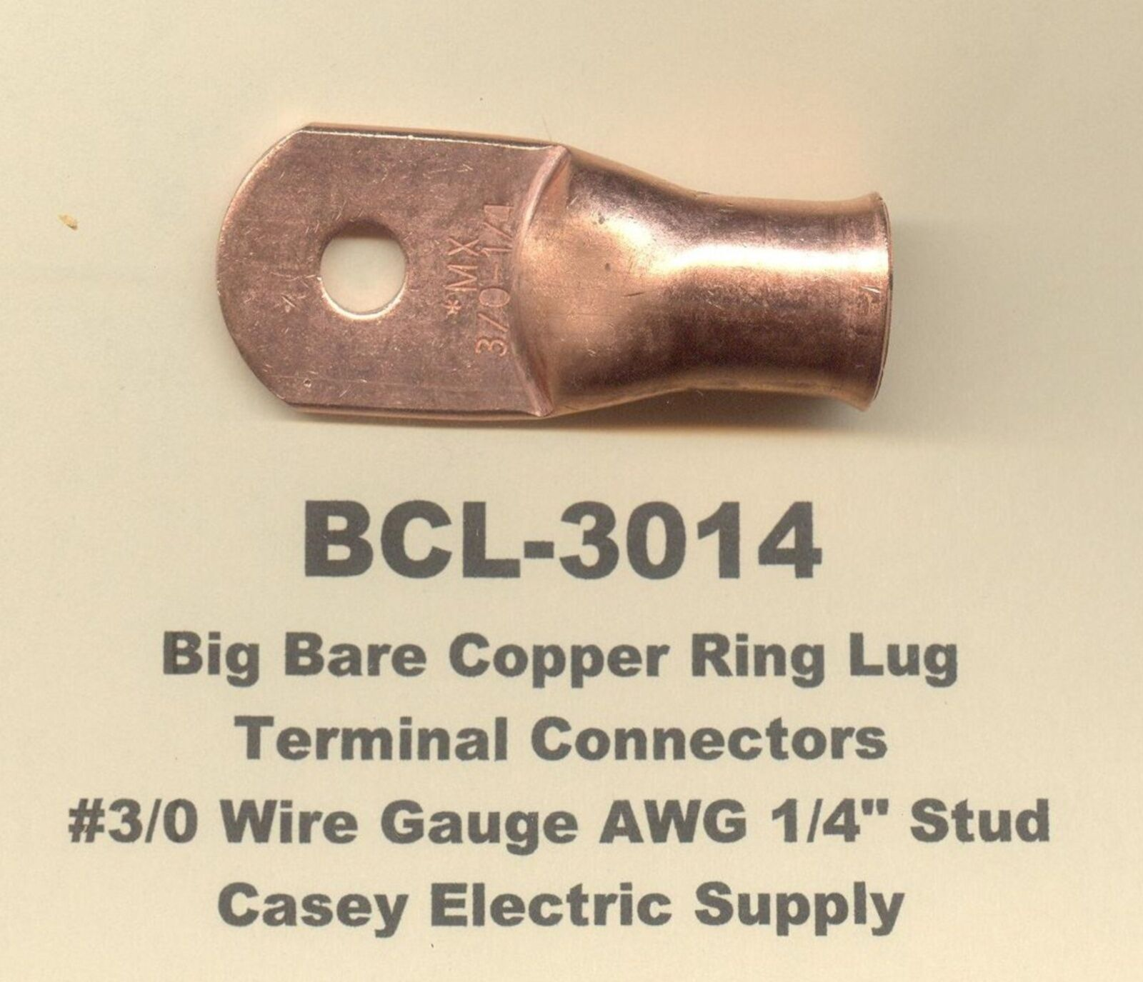 2 Bare Battery Copper Ring Terminal Connector #3/0 Gauge Wire 1/4 ...
