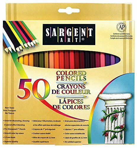 Sargent Art 50 Count Assorted Colored Pencils for Adult Children