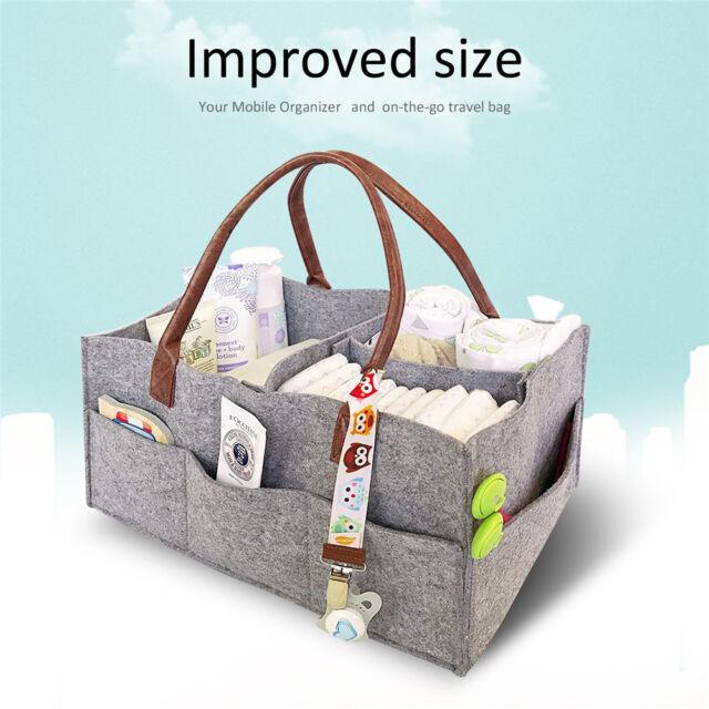 Baby Diaper Caddy Nursery Storage Bin Infant Wipes Bag Nappy ...