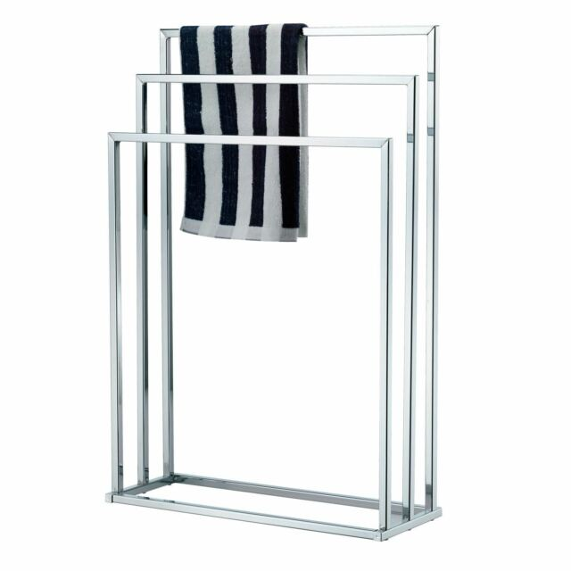 Standing 3 tier towel rail chrome drying bathroom stand - Free standing bathroom towel rack ...