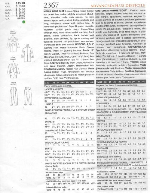 1940s Vintage Vogue Sewing Pattern Szabo 44-46-48 Men\'s Zoot Suit ...