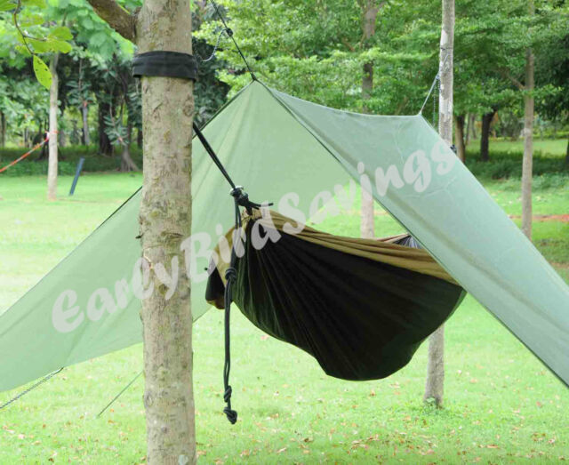 double hammock tent outdoor camping rainfly tarp with stuff sack hook ring rope the blue stone hammock cover camping rainfly tarp with stuff sack      rh   ebay