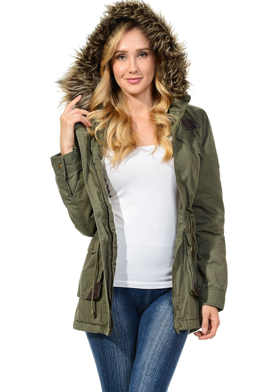 Womens Faux Fur Hoodie Sherpa Lined Military Safari Utility ...