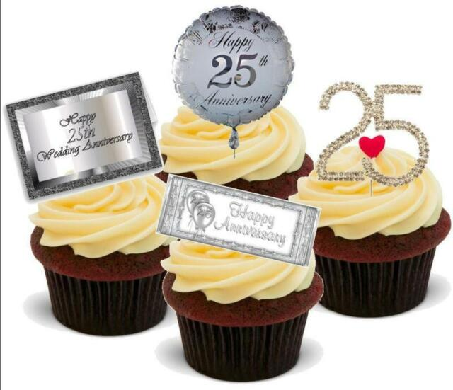 Novelty 25th Silver Wedding Anniversary Mix 12 Standups Edible Cake ...
