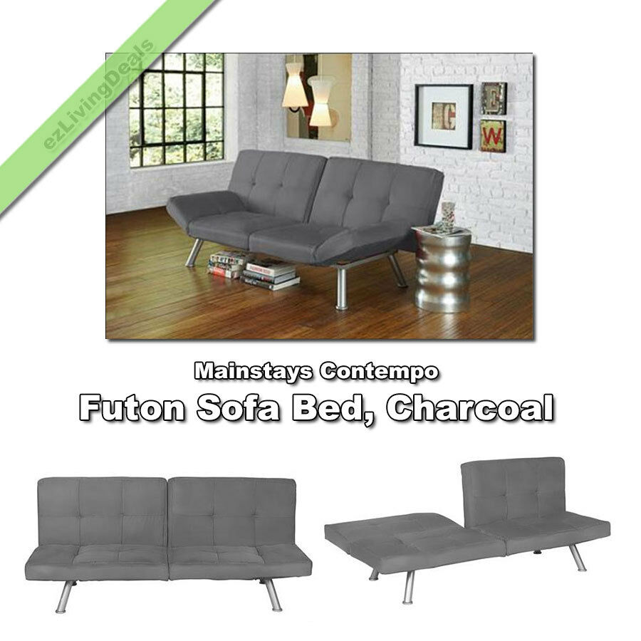 Mainstays Contempo Futon Sofa Bed Microfiber Convertible Lounger Sleeper Couch Charcoal Ebay