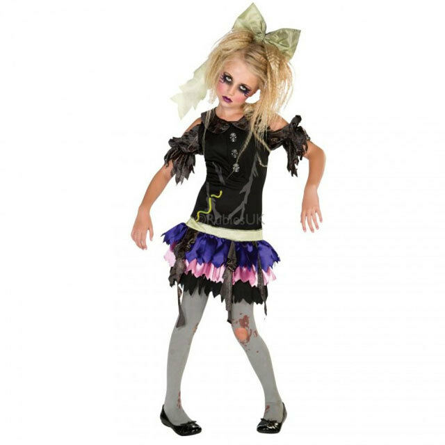 Kids Girls Creepy Zombie Ghost Doll Halloween Costume Medium | eBay