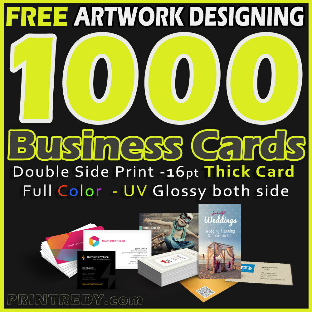 1000 Business Cards Full Color 2 Side Printing UV Coated- Designing ...