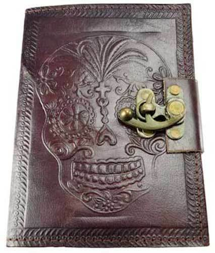 """5""""x7"""" Locking Leather Bound DAY OF THE DEAD Book of Shadows, Journal, or Diary!"""