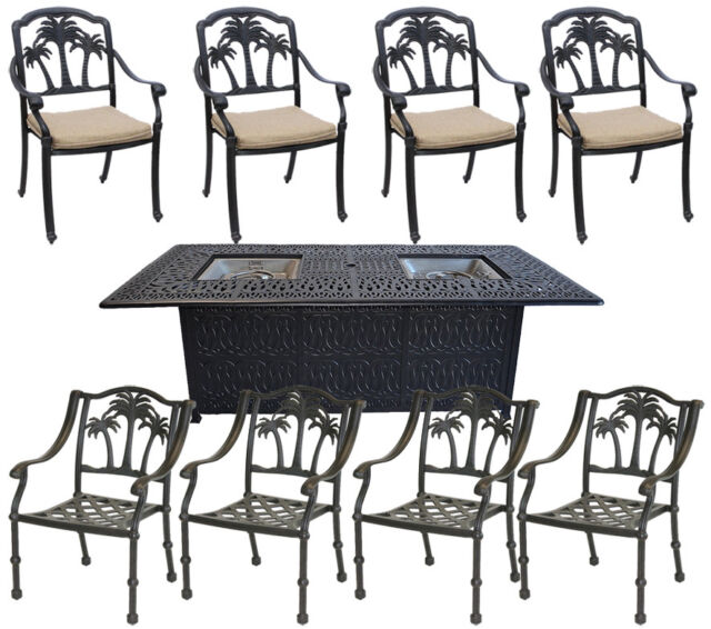 Propane Fire Pit Table Set Patio Furniture 8 Palm Tree Dining Chairs ...