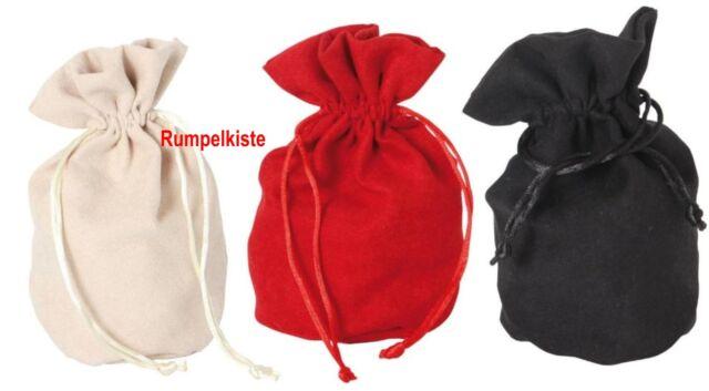3 Stück Veloursäckchen klein, mit Boden in 3 versch. Farben 6079g