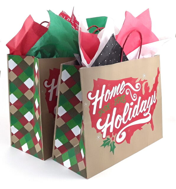 5x large gift bags kraft paper 16x12x6 in home for the holidays