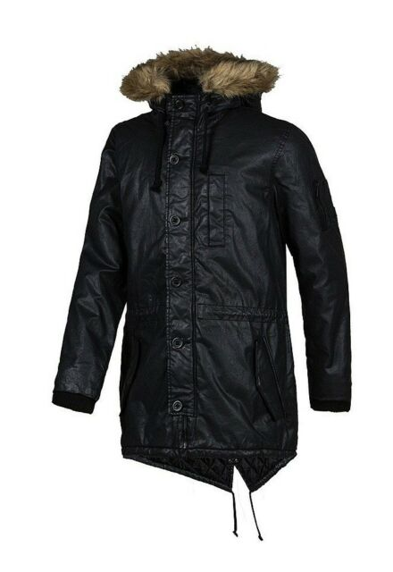 Adidas Men's Coated Parka Jacket Neo Winter Hooded Coat S90298 - Black