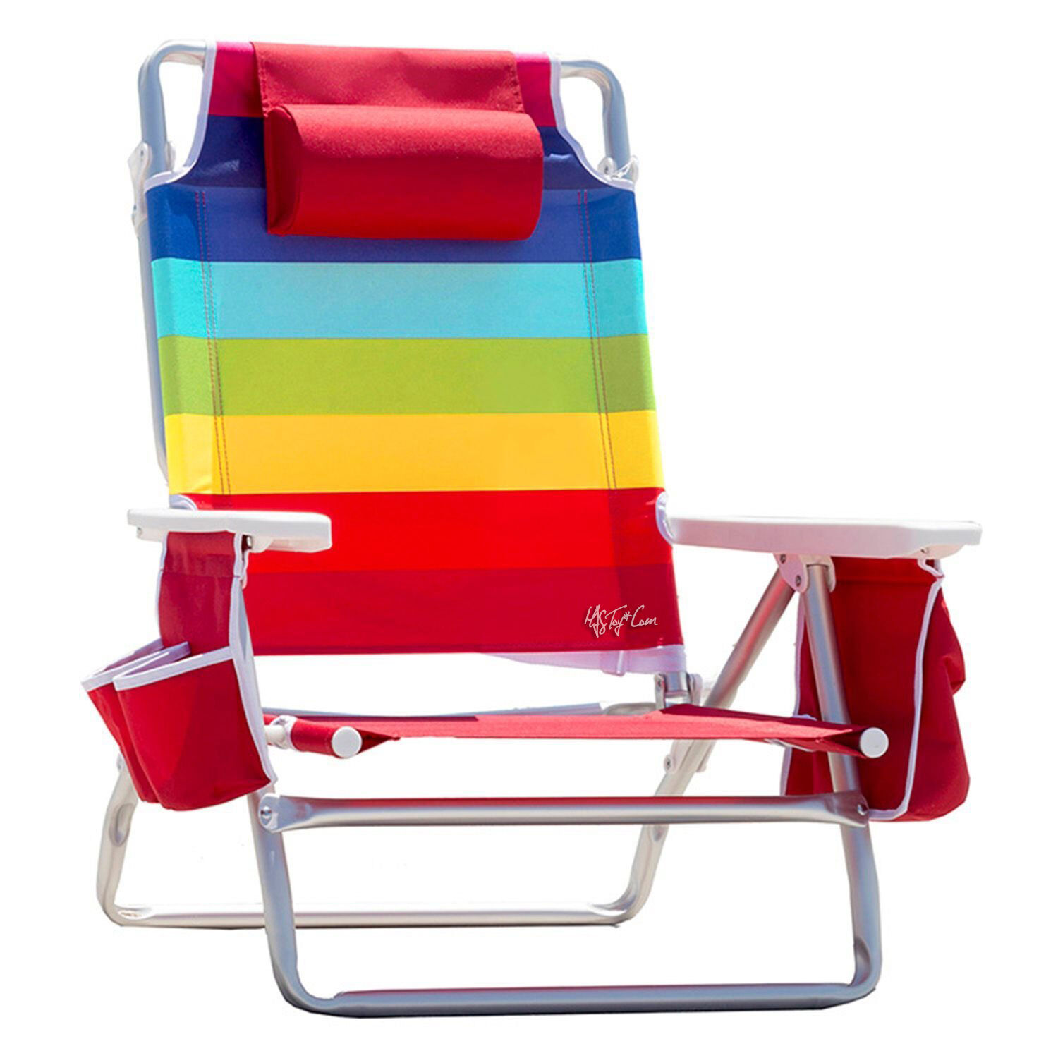 Nautica Beach Chair With Cooler & Cup Holder Rainbow Color 5