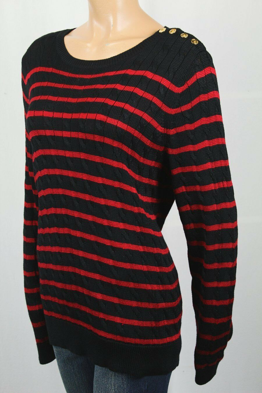 Ralph Lauren Womens Black Red Cable Stripe Sweater 1x Plus | eBay