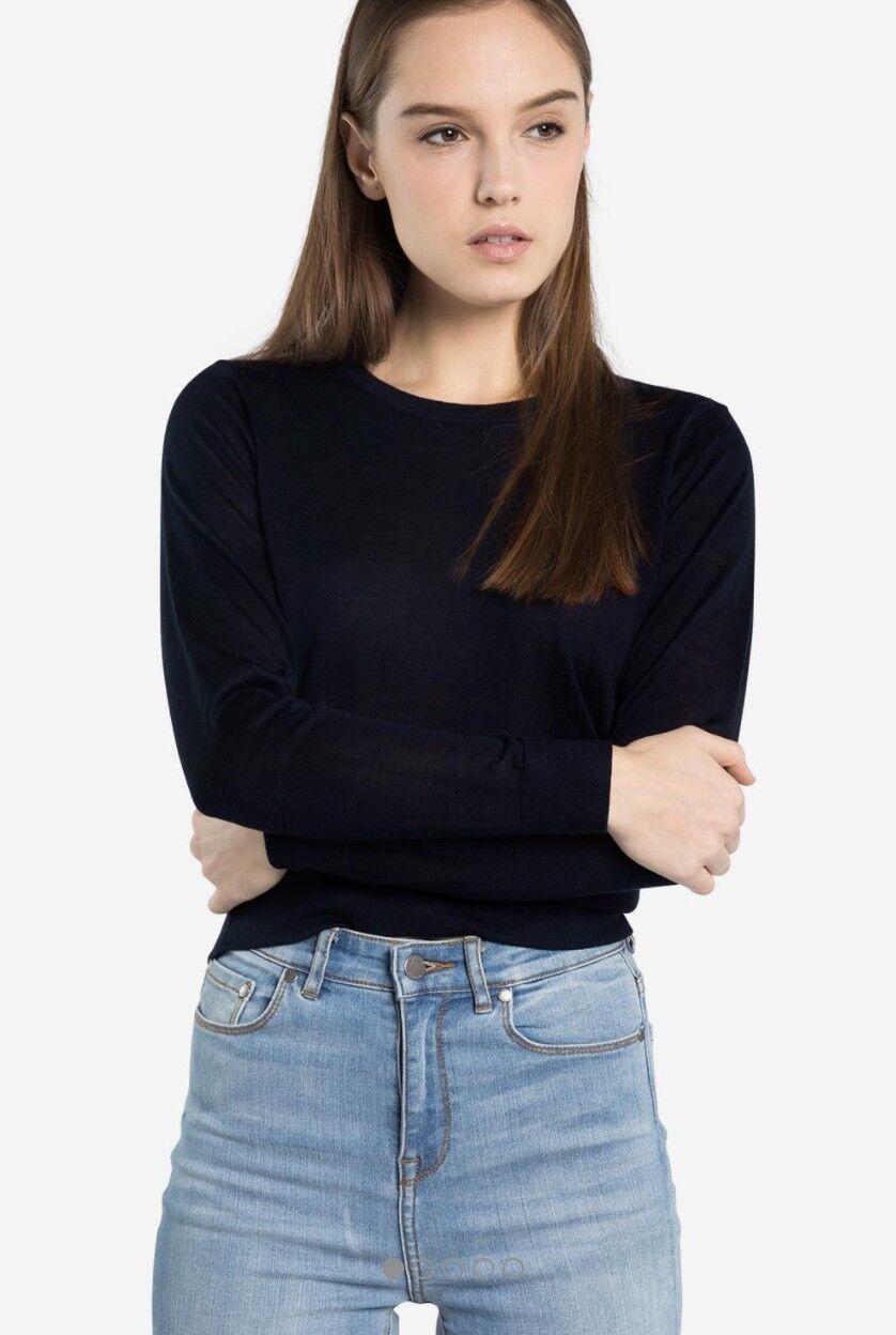 Grana Women's Silk Cashmere Crew Neck Sweater Navy Small | eBay