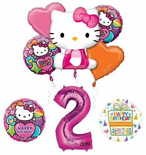 Hello Kitty 2nd Birthday Party Supplies and Balloon Bouquet