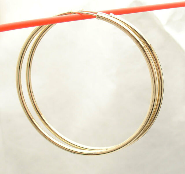 2mm X 50mm 2 Large Plain Shiny Endless Hoop Earrings Real 14k Yellow Gold