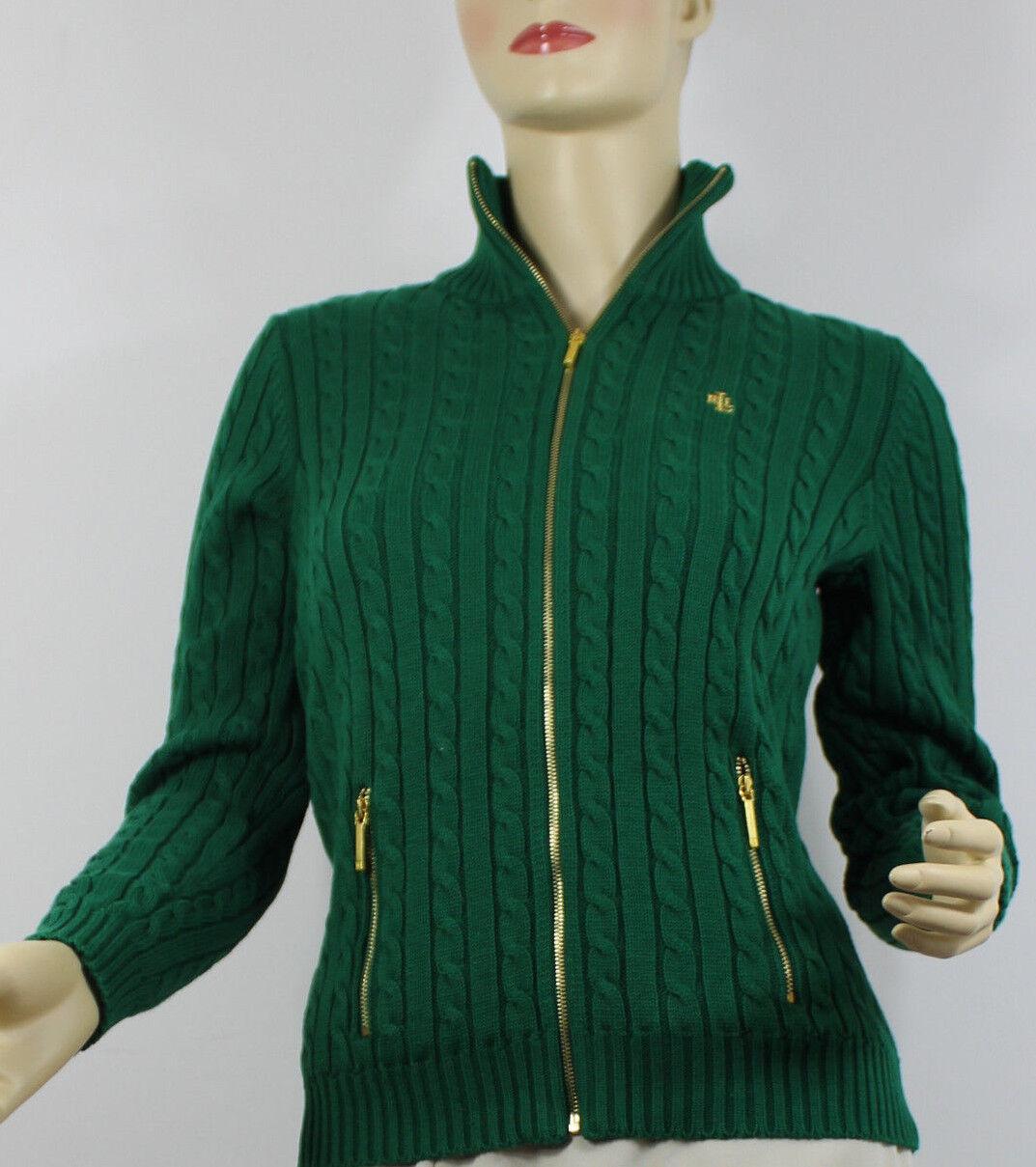 Ralph Lauren Sweater Cable Knit Womens XS Green Gold ZIPPER Cotton ...