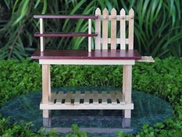 Superbe Miniature Dollhouse FAIRY GARDEN Furniture ~ Wood Workbench Potting Table ~  NEW