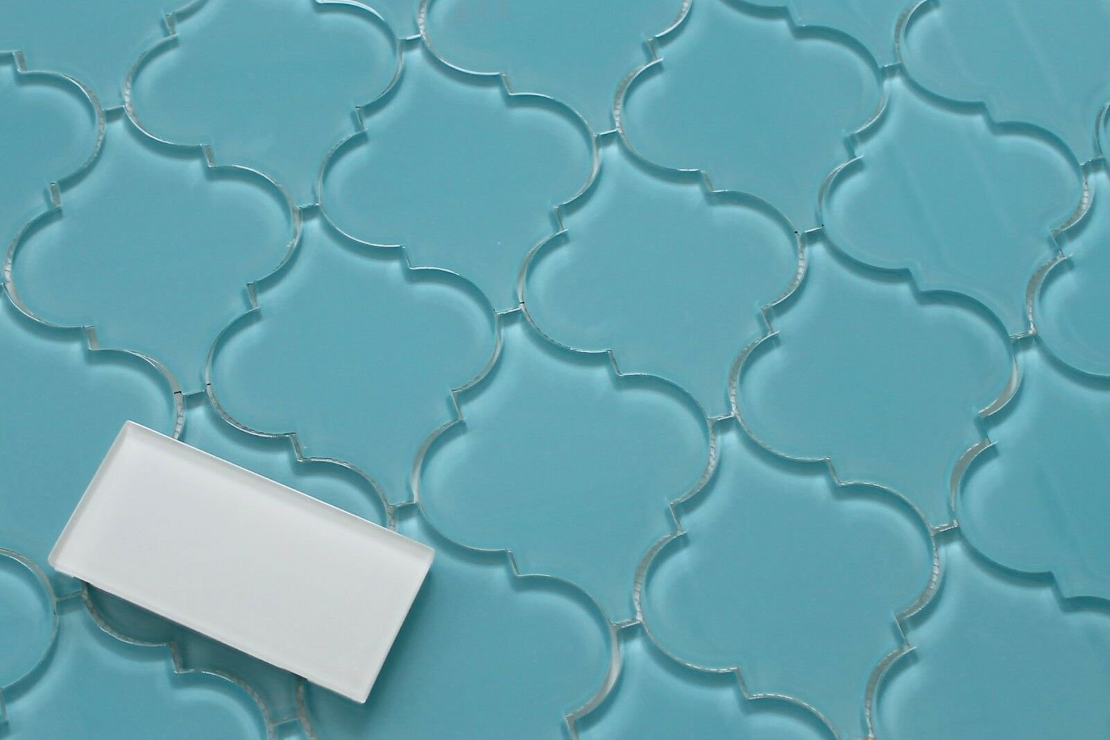 Infinity Blue Arabesque Glass Mosaic Tiles - Kitchen Backsplash ...