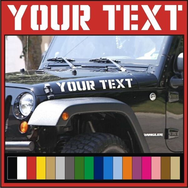 Your text vinyl hood decals stickers jeep wrangler custom printed 4x4 jk tj xj