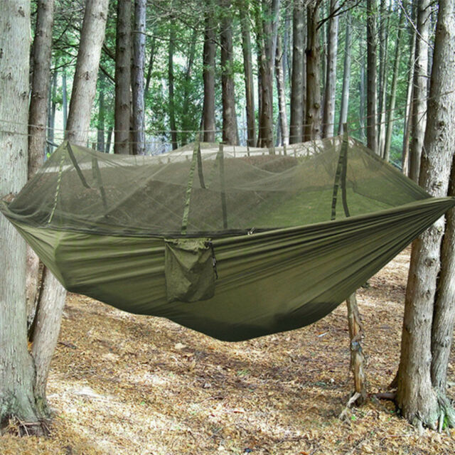 Easy Setup C&ing Jungle Hammock 2 Persons Bed Tent W/ Mosquito Net Load 507lbs Army Green | eBay & Easy Setup Camping Jungle Hammock 2 Persons Bed Tent W/ Mosquito ...