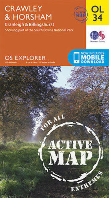 OL34 Crawley and Horsham Laminated Active Explorer Map OL 34