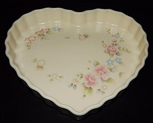 Pfaltzgraff Tea Rose Heart Shaped Baker 12375 Baking Dish Quiche Pie ...