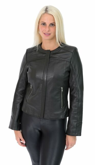 Womens leather jacket without collar