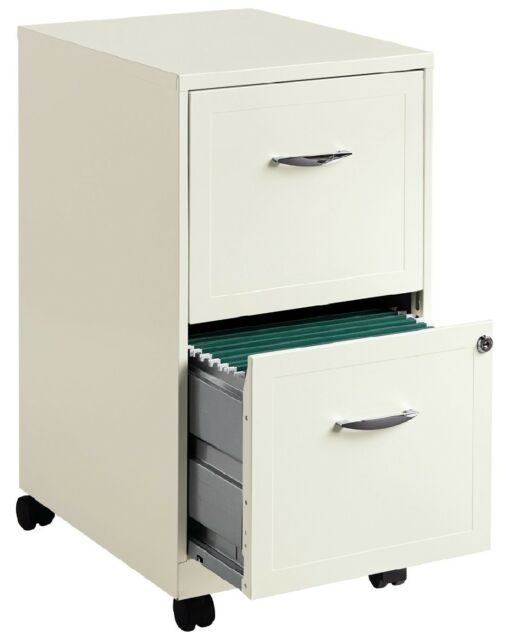 White File Cabinet 2 Drawer Rolling Locking Filing Metal Steel Office