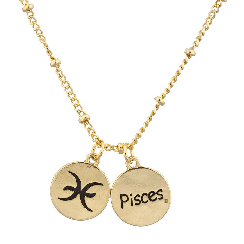Lux Accessories Horoscope Zodiac Sign Pisces Gold Necklace naaG7