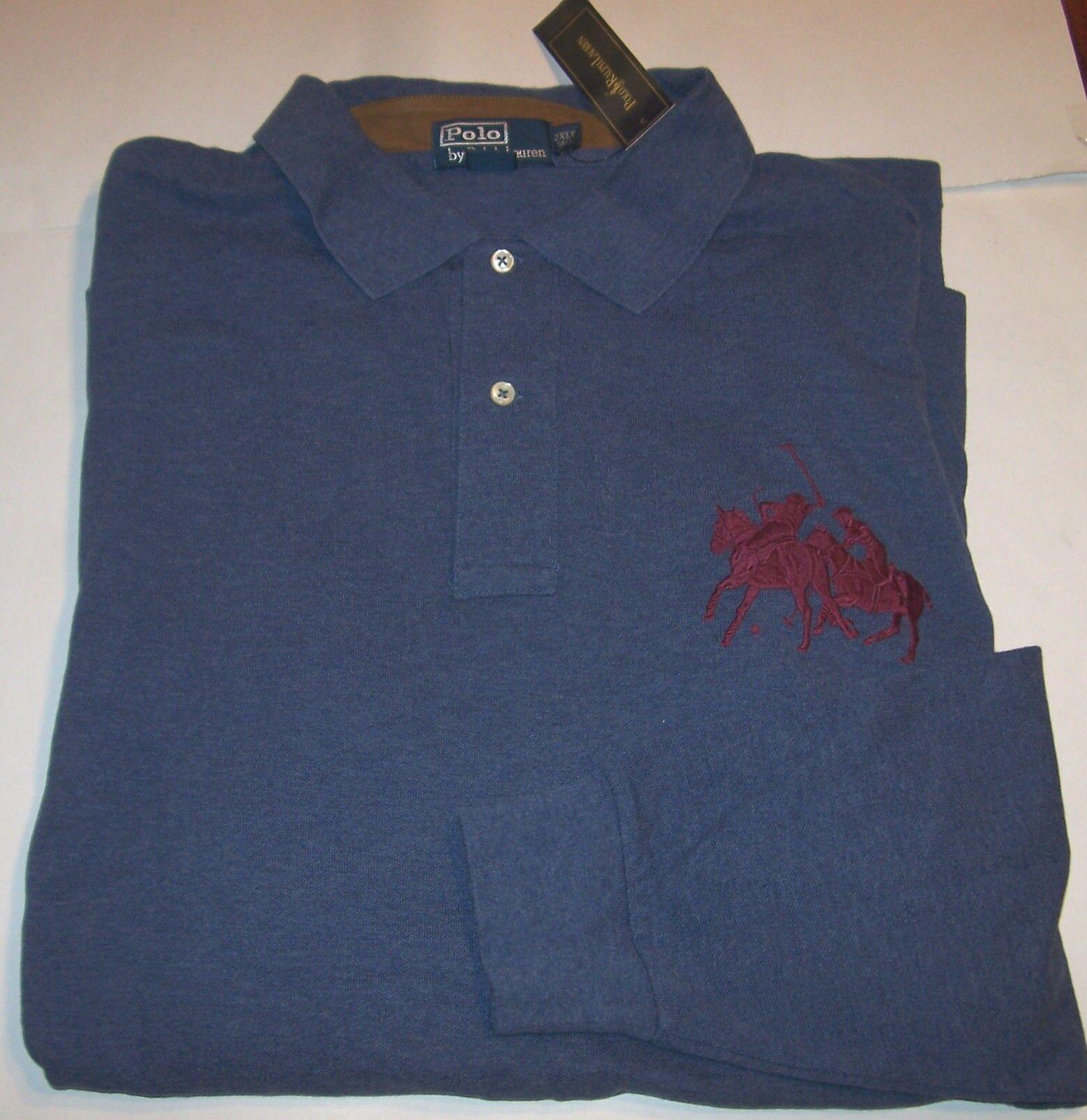 7f6b9e080 ... germany ralph lauren polo long sleeve mesh shirt dual match blue 2xlt  big c2f4e 261b0